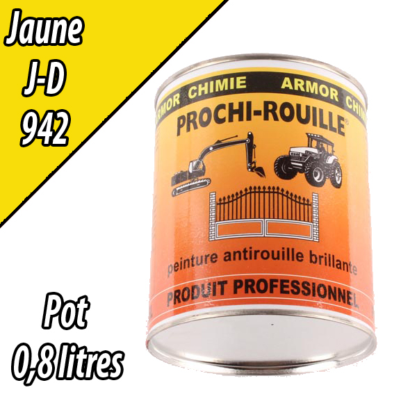 Peinture agricole PROCHI- ROUILLE brillante, jaune, 942, JOHN DEERE, Pot 0,8 L