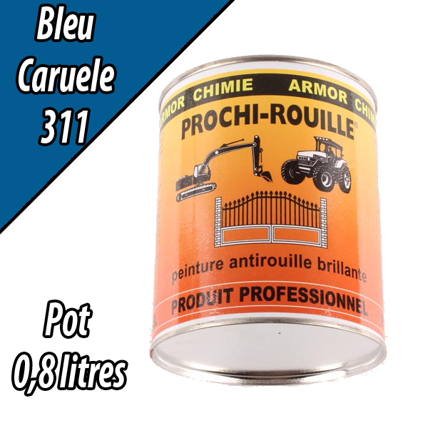 Peinture agricole PROCHI- ROUILLE brillante, bleu, 311, CARUELE, Pot 0,8 L