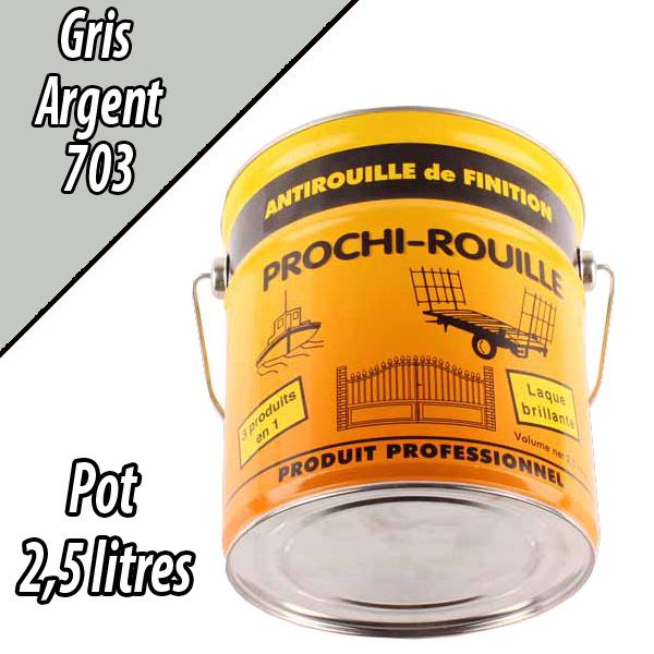 Peinture agricole PROCHI- ROUILLE brillante, gris argent, 703, UNIVERSEL, Pot 2,5 L