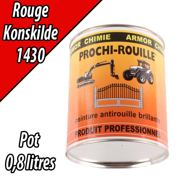 Peinture agricole PROCHI- ROUILLE brillante, rouge, 1430, KONGSKILDE, Pot 0,8 L