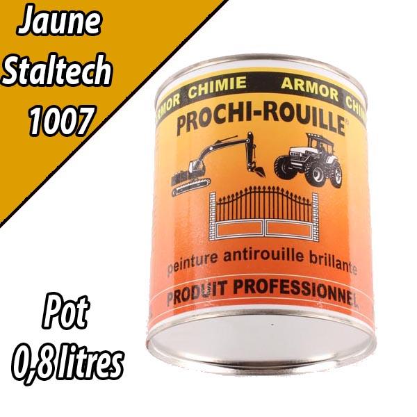 Peinture agricole brillante PROCHI-ROUILLE, jaune, 1007, STALTECH, pot de 0,8 L