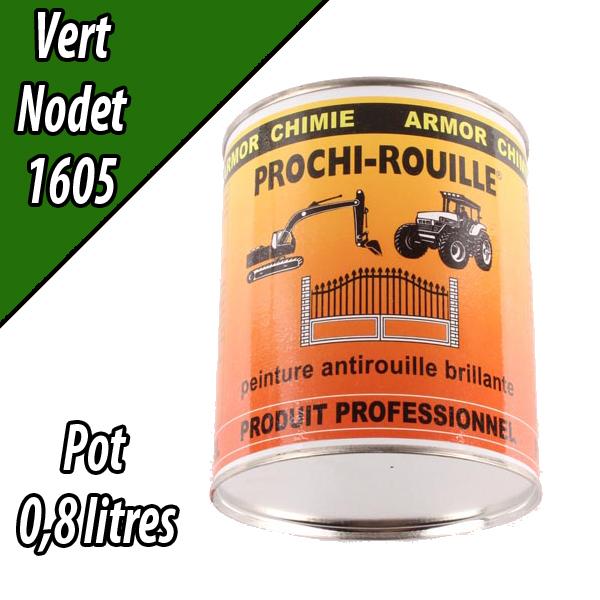 Peinture agricole PROCHI- ROUILLE brillante, vert, 1605, NODET, Pot 0,8 L