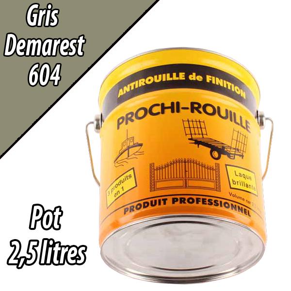 Peinture agricole PROCHI- ROUILLE brillante, gris, 604, DEMAREST, Pot 2,5 L