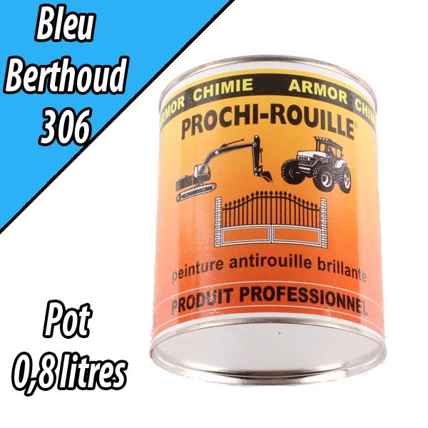Peinture agricole PROCHI- ROUILLE brillante, bleu, 306, BERTHOUD, Pot 0,8 L