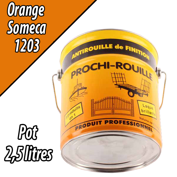 Peinture agricole PROCHI- ROUILLE brillante, orange, 1203, SOMECA, Pot 2,5 L