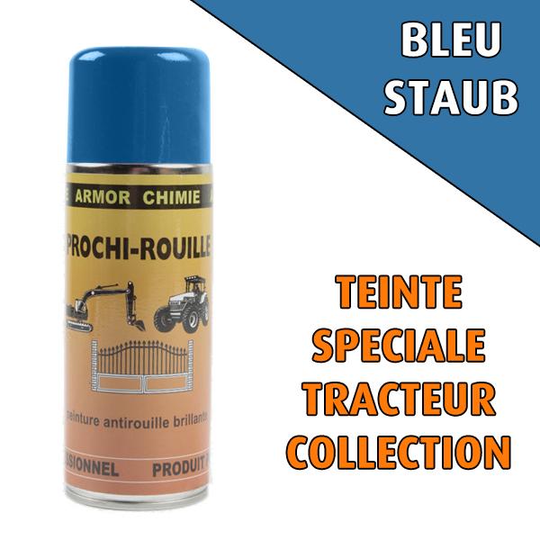 Peinture agricole collection PROCHI- ROUILLE brillante, bleu, STAUB, Aérosol 400 ML
