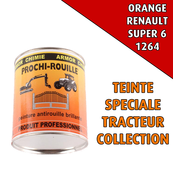 Peinture agricole collection PROCHI- ROUILLE brillante, orange, 1264, RENAULT SUPER 6, Pot 0,8 L