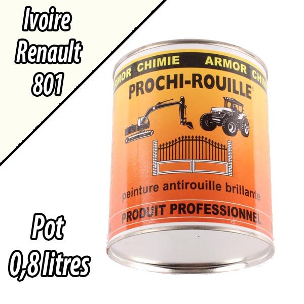 Peinture agricole PROCHI- ROUILLE brillante, ivoire, 801, RENAULT, Pot 0,8 L