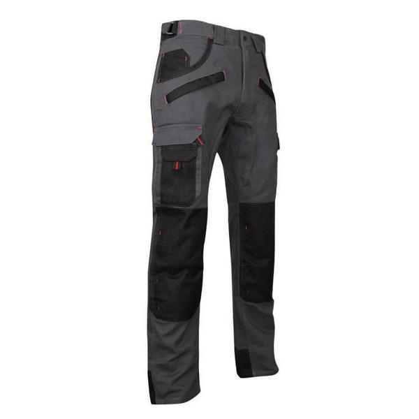Pantalon de travail bicolore gris/noir avec poches genouillières, taille 44