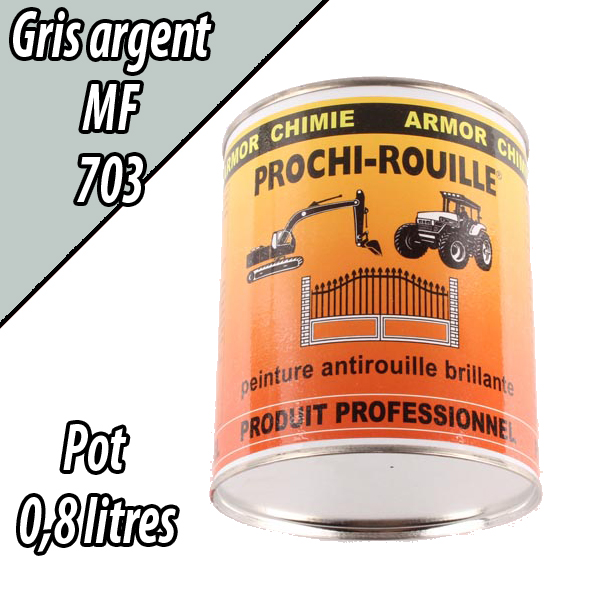 Peinture agricole antirouille brillant gris argent 703 machine mf pot 0 8 l for Peinture gris brillant