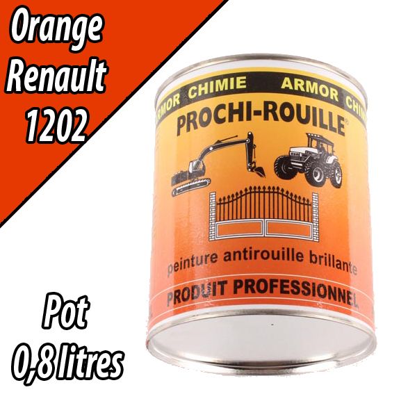 Peinture agricole PROCHI- ROUILLE brillante, orange, 1202, RENAULT, Pot 0,8 L