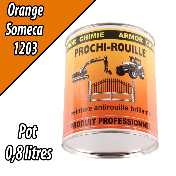 Peinture agricole PROCHI- ROUILLE brillante, orange, 1203, SOMECA, Pot 0,8 L