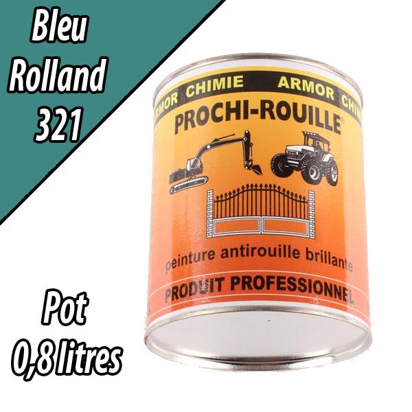 Peinture agricole PROCHI- ROUILLE brillante, bleu, 321, ROLLAND, Pot 0,8 L