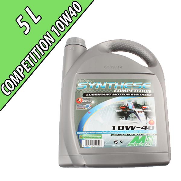 Lubrifiant synthétique pour moteurs automobiles 10W-40 COMPETITION, en bidon de 5L