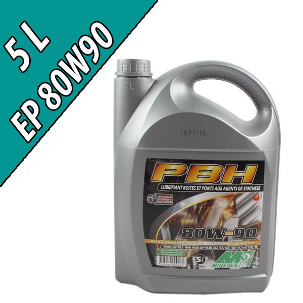 Lubrifiant minéral pour boîtes et ponts PBH EP 80W-90, en bidon de 5L