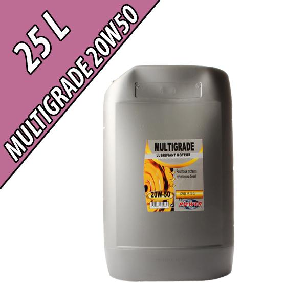 Lubrifiant moteur minéral MULTIGRADE 20W-50, en bidon de 25L