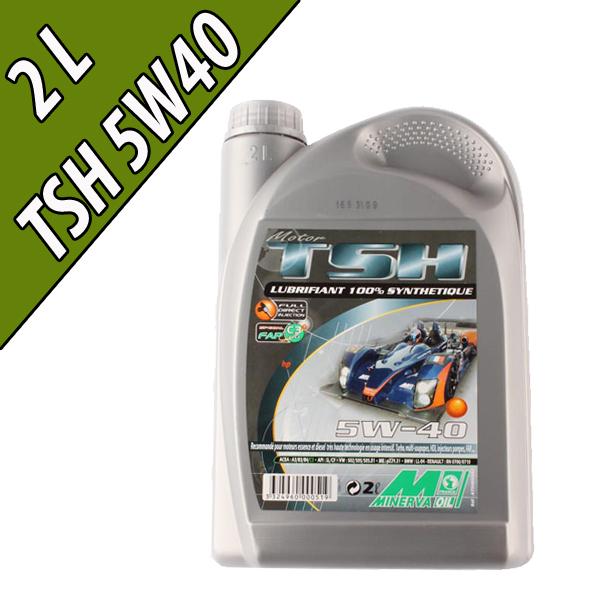 Lubrifiant 100% synthétique pour moteurs automobiles TSH 5W-40, en bidon de 2L