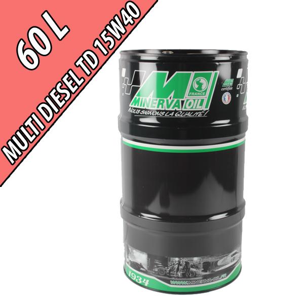 Lubrifiant minéral pour moteurs industriels MULTI DIESEL TD LW 15W-40, en fût de 60L