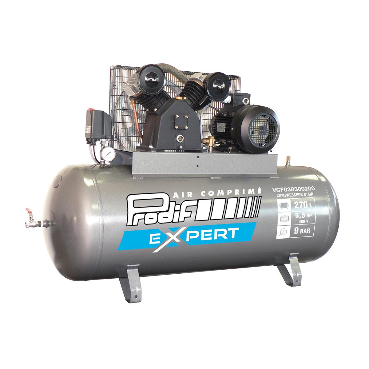 Compresseur fixe à courroie 270 L,  35m3/heure, 2 cylindres