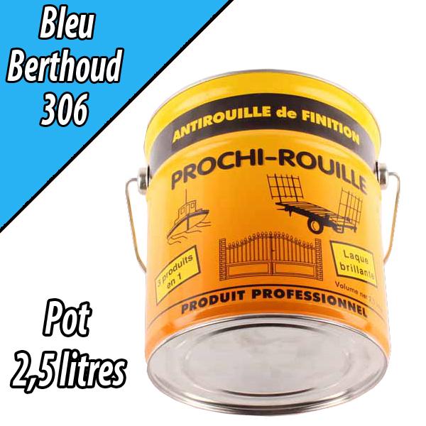 Peinture agricole PROCHI- ROUILLE brillante, bleu, 306, BERTHOUD, Pot 2,5 L