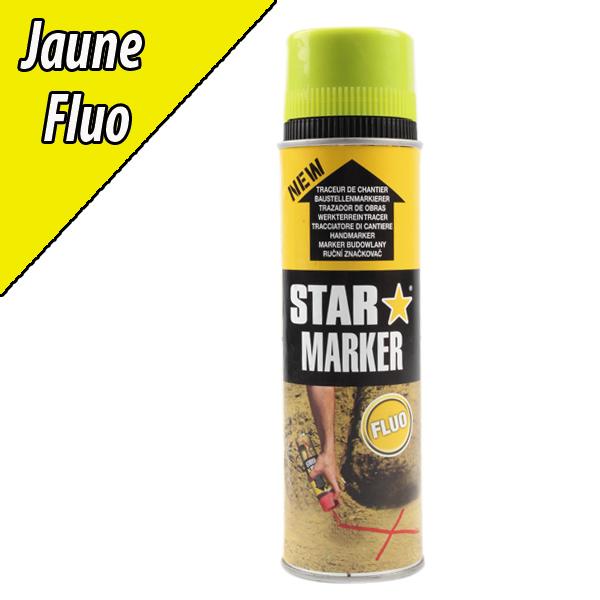 Traceur de chantier aérosol fluo jaune, 500 ml