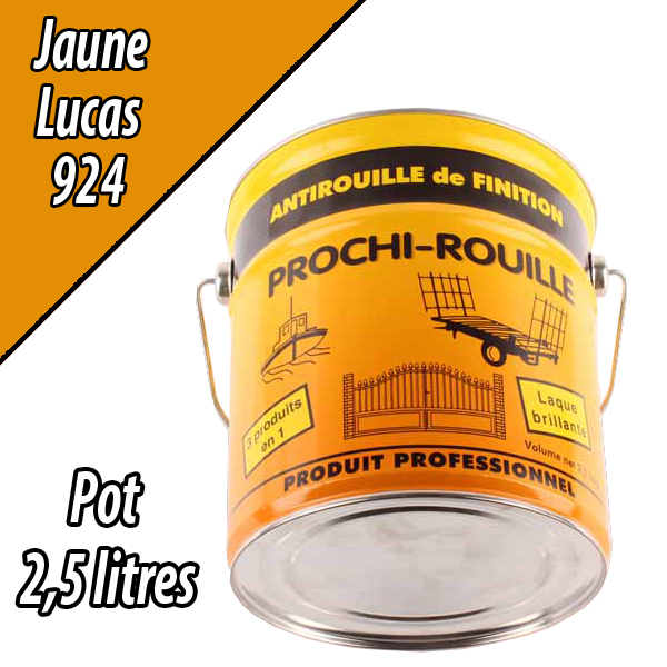 Peinture agricole PROCHI- ROUILLE brillante, jaune, 924, LUCAS, Pot 2,5 L