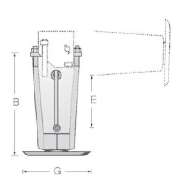 Béquille cric démultiplié avec fixation basculante support latéral