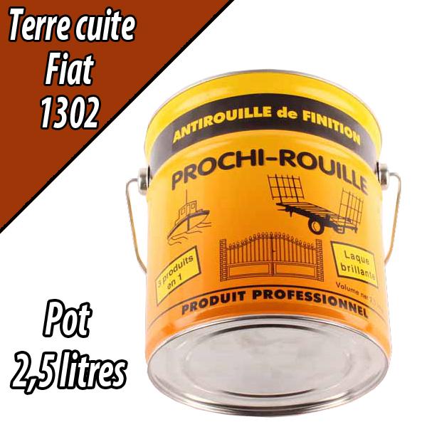 Peinture agricole PROCHI- ROUILLE brillante, terre cuite, 1302, FIAT, Pot 2,5 L