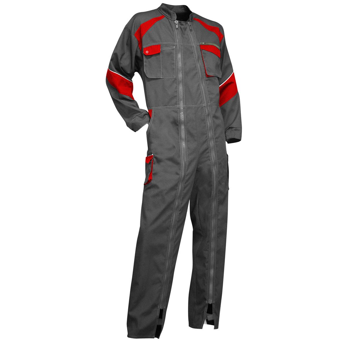 Cote de travail homme Luzerne, double fermeture gris et rouge, Taille 4