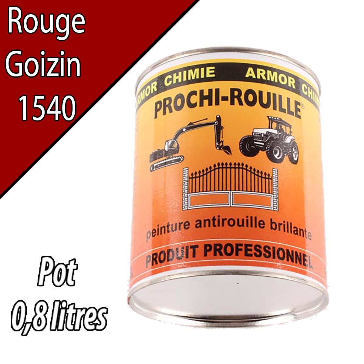 Peinture agricole PROCHI- ROUILLE brillante, rouge, 1540, GOIZIN, Pot 0,8 L