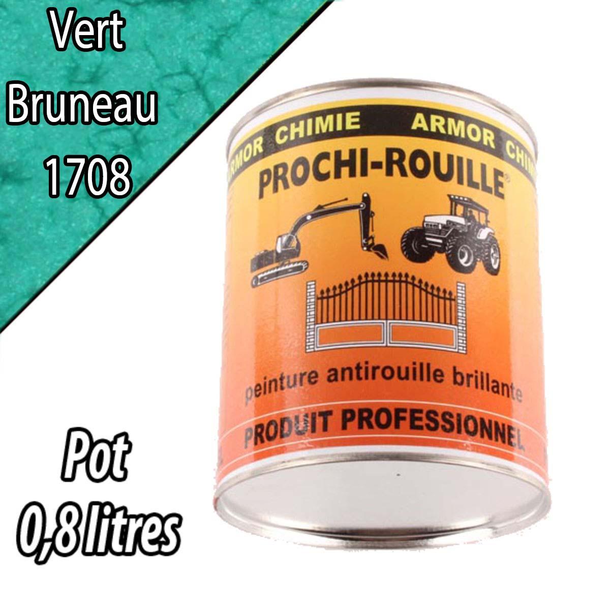Peinture agricole PROCHI- ROUILLE brillante, vert, 1708, BRUNEAU, Pot 0,8 L