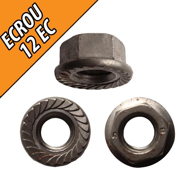 Ecrou cranté diamètre 12 mm, classe 8, acier brut