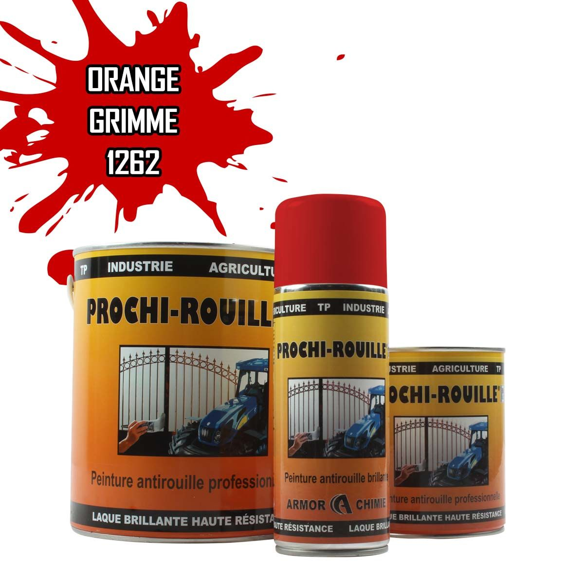 Peinture agricole PROCHI-ROUILLE brillante, Orange, 1262, GRIMME
