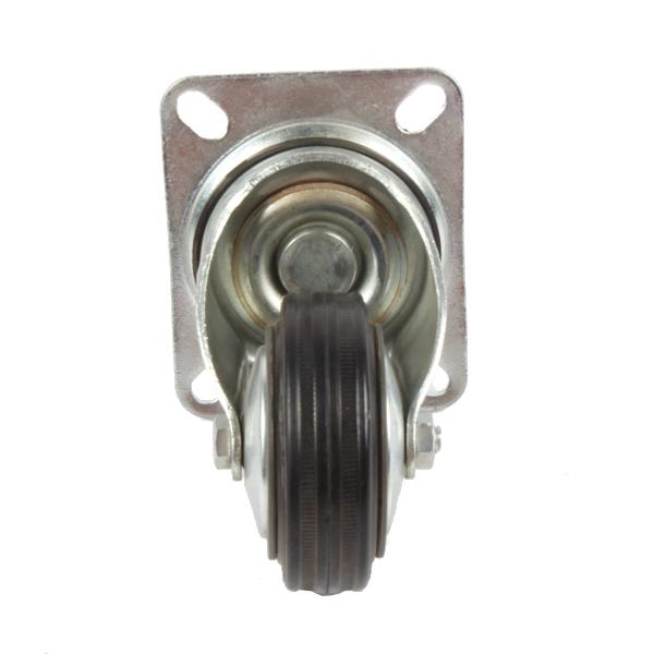 Roue caoutchouc 80mm pivotante à platine boulonnée, S2C, 022560