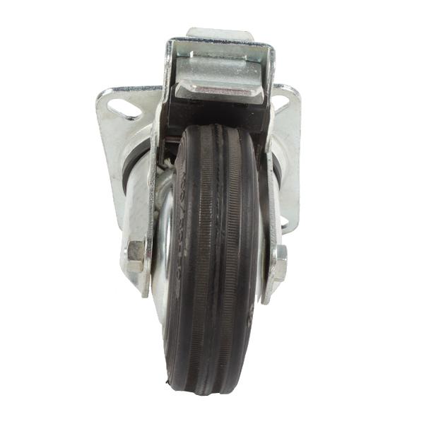 Roue caoutchouc pivotante à platine à frein 100mm, S2CAF, 022567