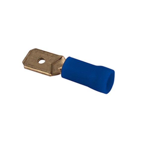 Cosse plate mâle bleue L6.3 par 10