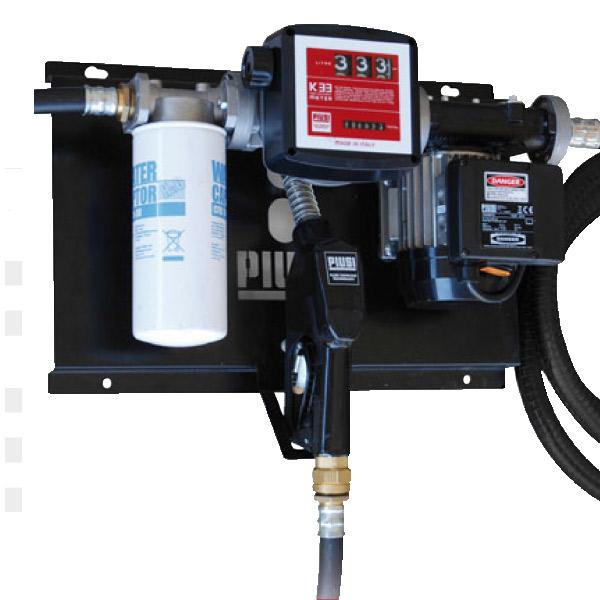 Station fuel 56l/min avec filtre 6 mètres de tuyau, pistolet automatique.