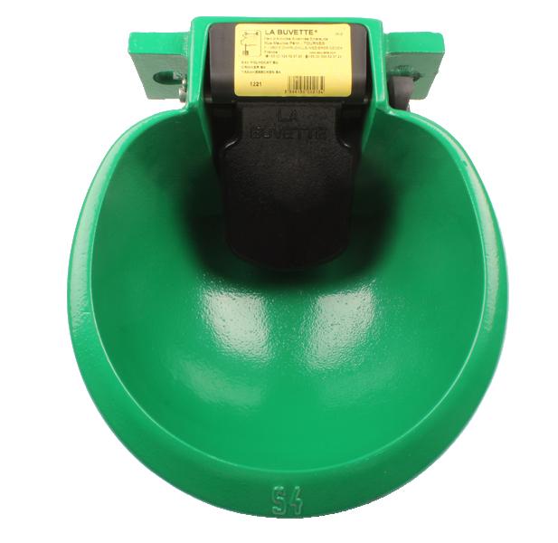 Abreuvoir s4 vert polycoat bol en fonte avec palette for Nettoyage interieur radiateur fonte