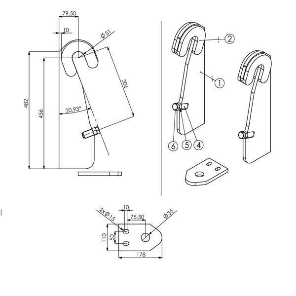Kit d'attache Merlo brut pour fixation sur accessoire frontal