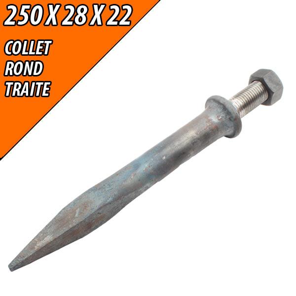 Dent 250X28X22, de herse plate ronde collet rond acier traité 150Kg, pièce interchangeable