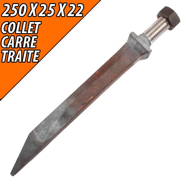Dent 250X25X22, de herse plate acier traité collet carré, pièce interchangeable