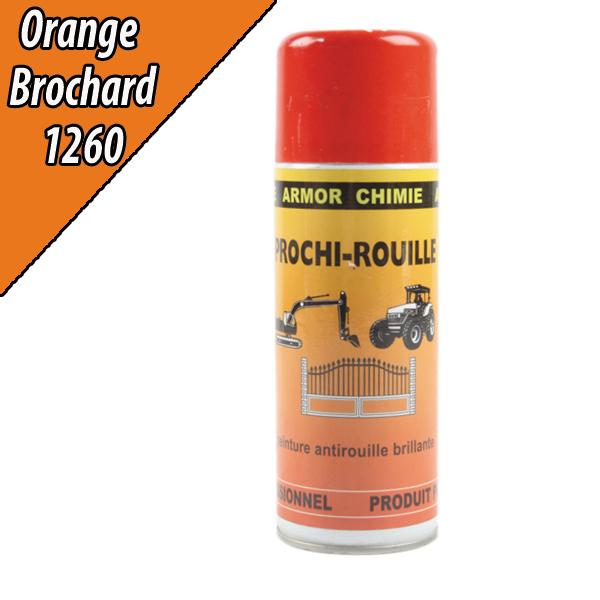 Peinture agricole PROCHI- ROUILLE brillante, orange, 1260, BROCHARD, Aérosol 400ml