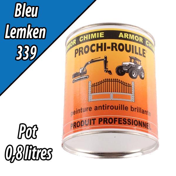 Peinture agricole PROCHI- ROUILLE brillante, bleu, 339, LEMKEN, Pot 0,8 L