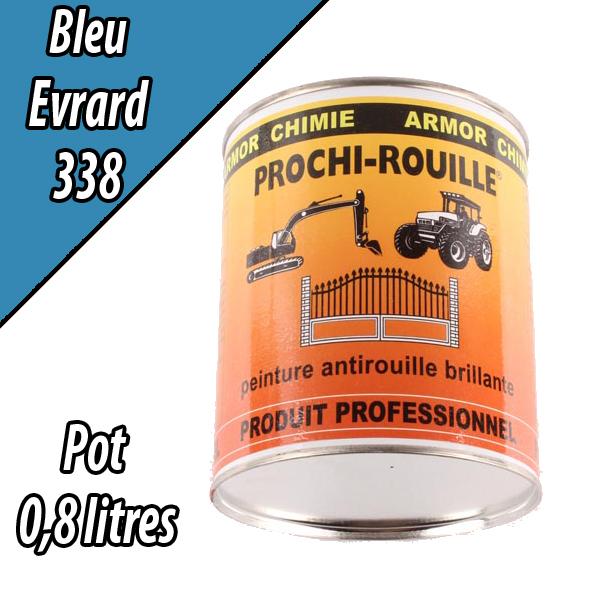 Peinture agricole PROCHI- ROUILLE brillante, bleu, 338, EVRARD, Pot 0,8 L