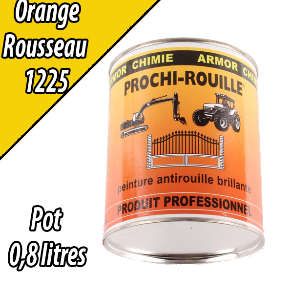 Peinture agricole PROCHI- ROUILLE brillante, orange, 1225, ROUSSEAU, Pot 0,8 L