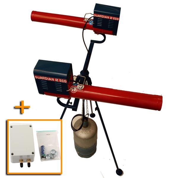 Double Canon à gaz GUARDIAN ECO rotatif 360 ° sur trepied avec programmateur