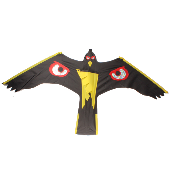 Épouvantail cerf volant aigle noir avec motif oeil, mât 4 mètres et pivôt, épouvantail culture et jardin