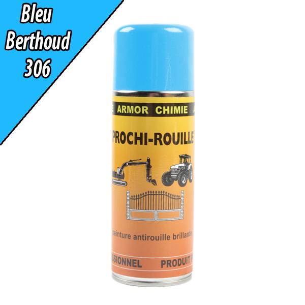 Peinture agricole PROCHI- ROUILLE brillante, bleu, 306, BERTHOUD, Aérosol 400ml