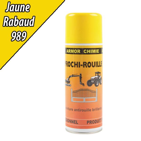 Peinture agricole PROCHI- ROUILLE brillante, jaune, 989, RABAUD, Aérosol 400ml