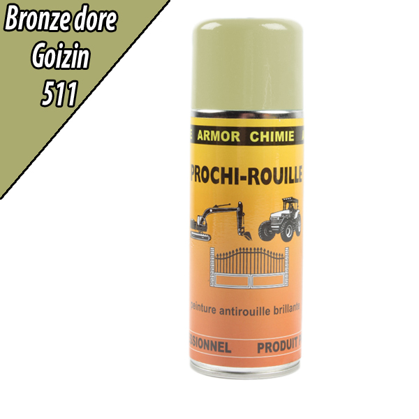 Peinture agricole PROCHI- ROUILLE brillante, bronze doré, 511, GOIZIN, Aérosol 400ml